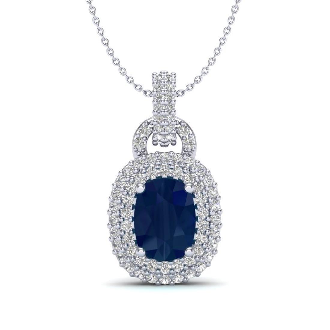 2.50 CTW Sapphire & Micro Pave VS/SI Diamond Necklace