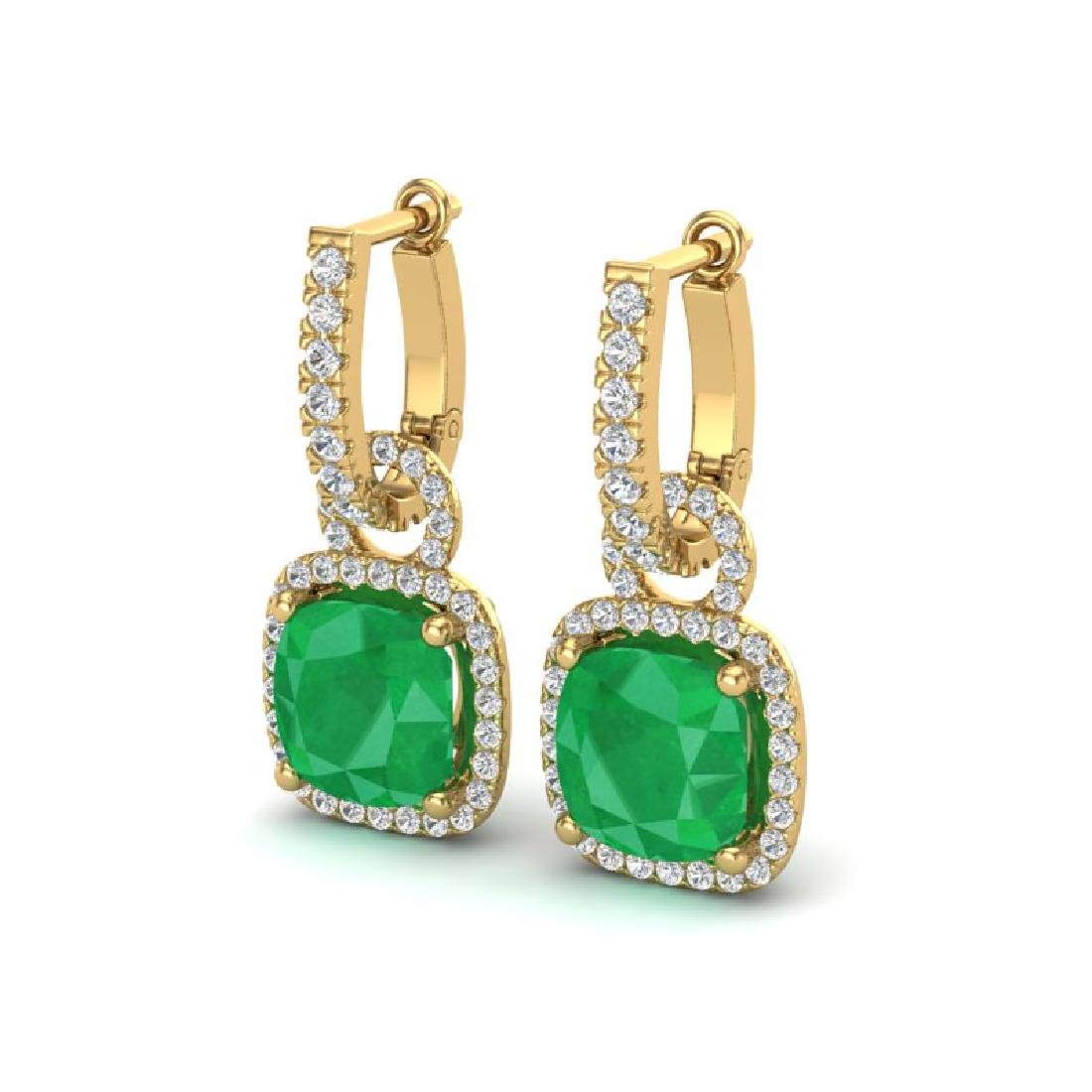 6 CTW Emerald & Micro Pave VS/SI Diamond Earrings 18K
