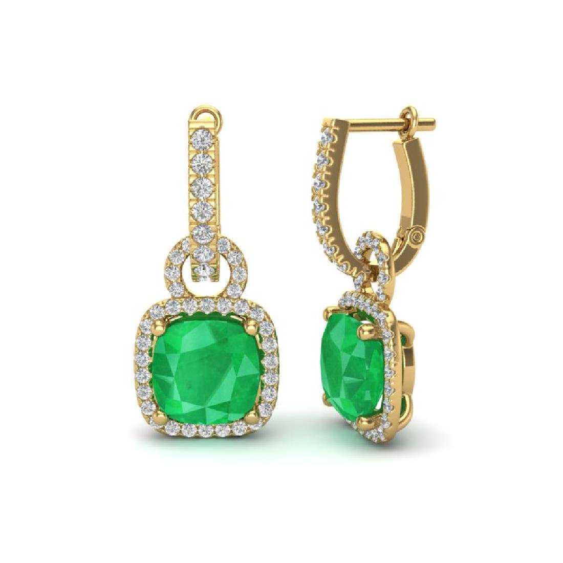 6 CTW Emerald & Micro Pave VS/SI Diamond Earrings 18K - 2