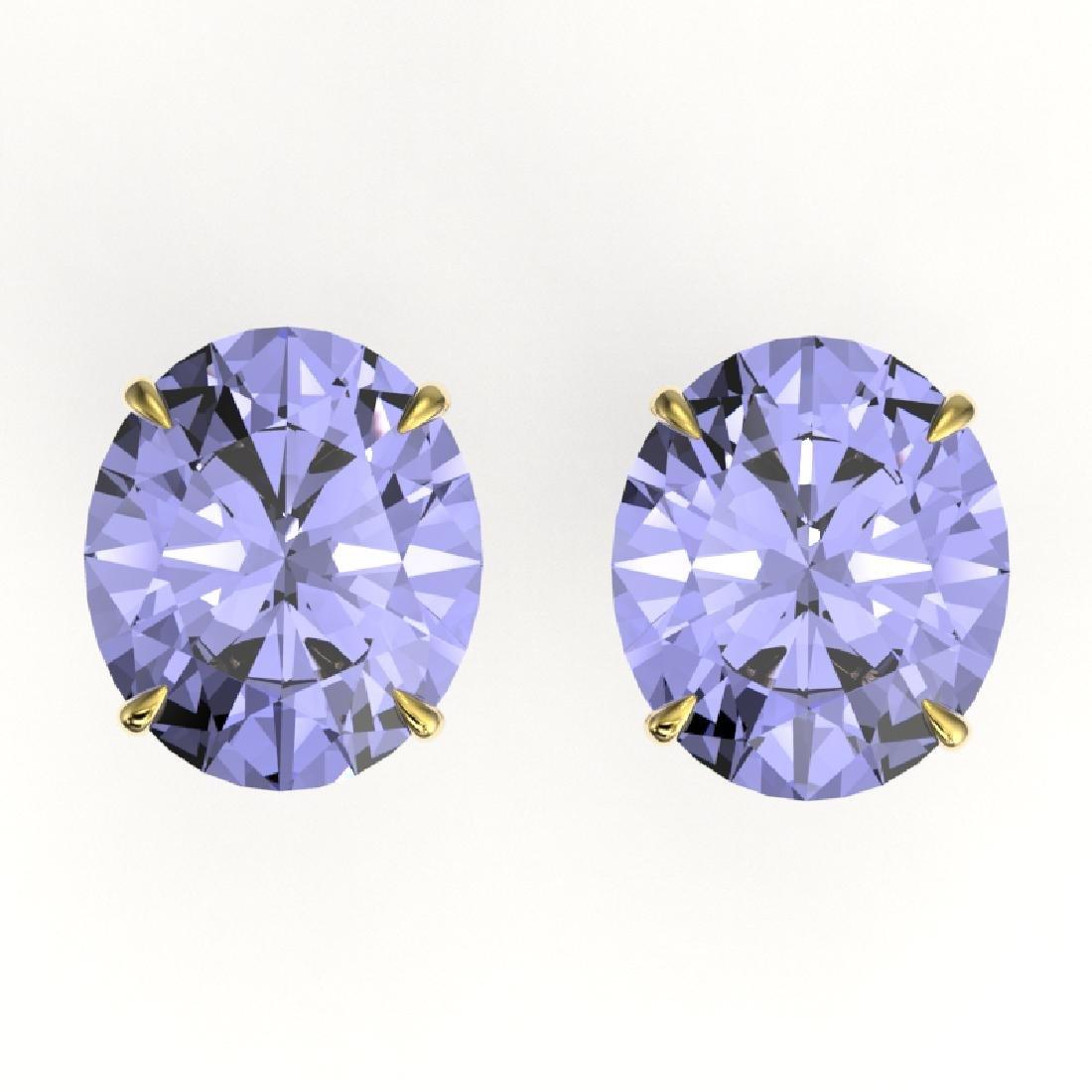 18 CTW Tanzanite Designer Solitaire Stud Earrings 18K