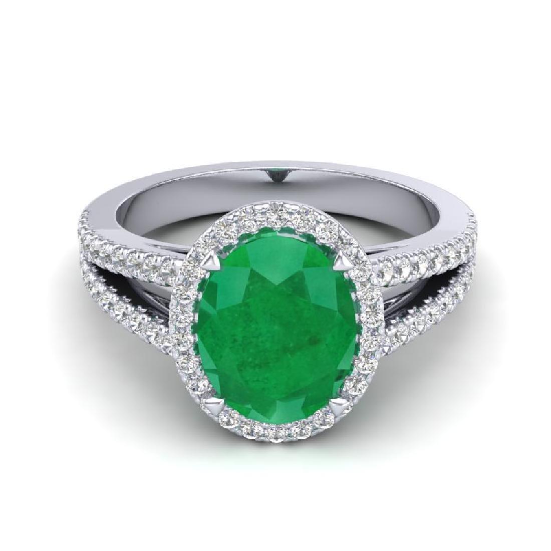 3 CTW Emerald & Micro VS/SI Diamond Halo Solitaire Ring