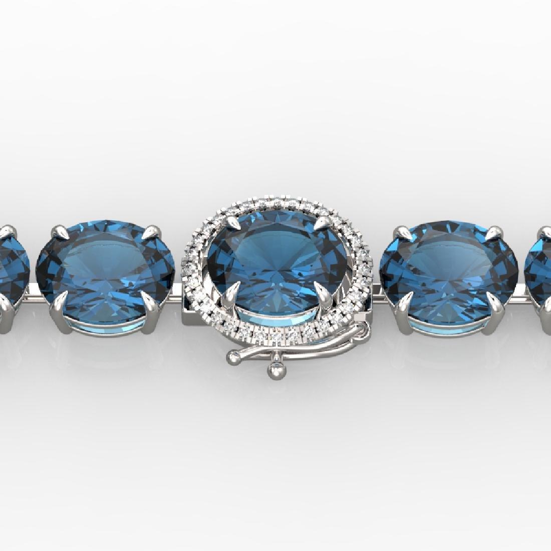 79 CTW London Blue Topaz & Micro VS/SI Diamond Halo
