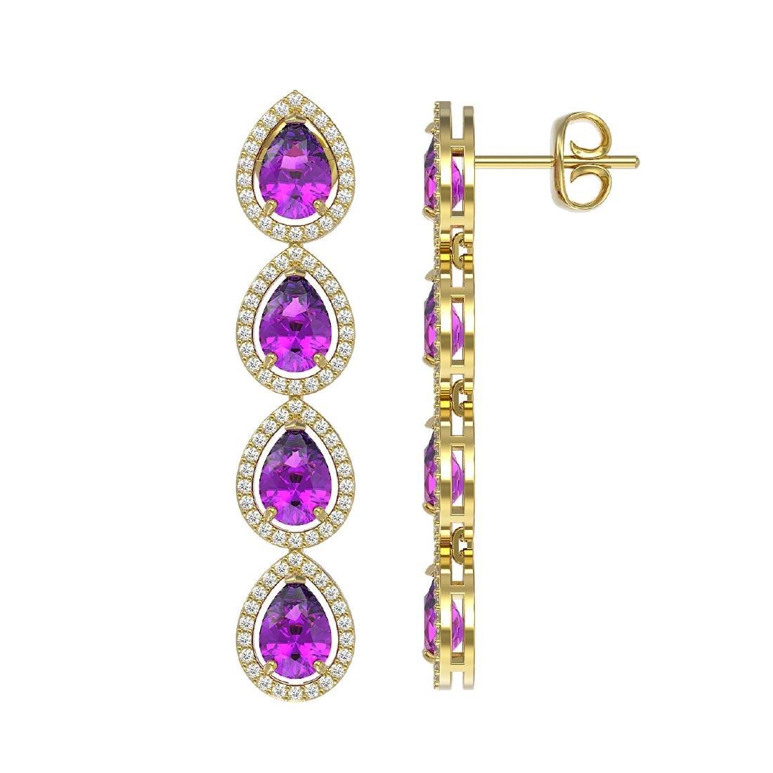 7.85 CTW Amethyst & Diamond Halo Earrings 10K Yellow - 2