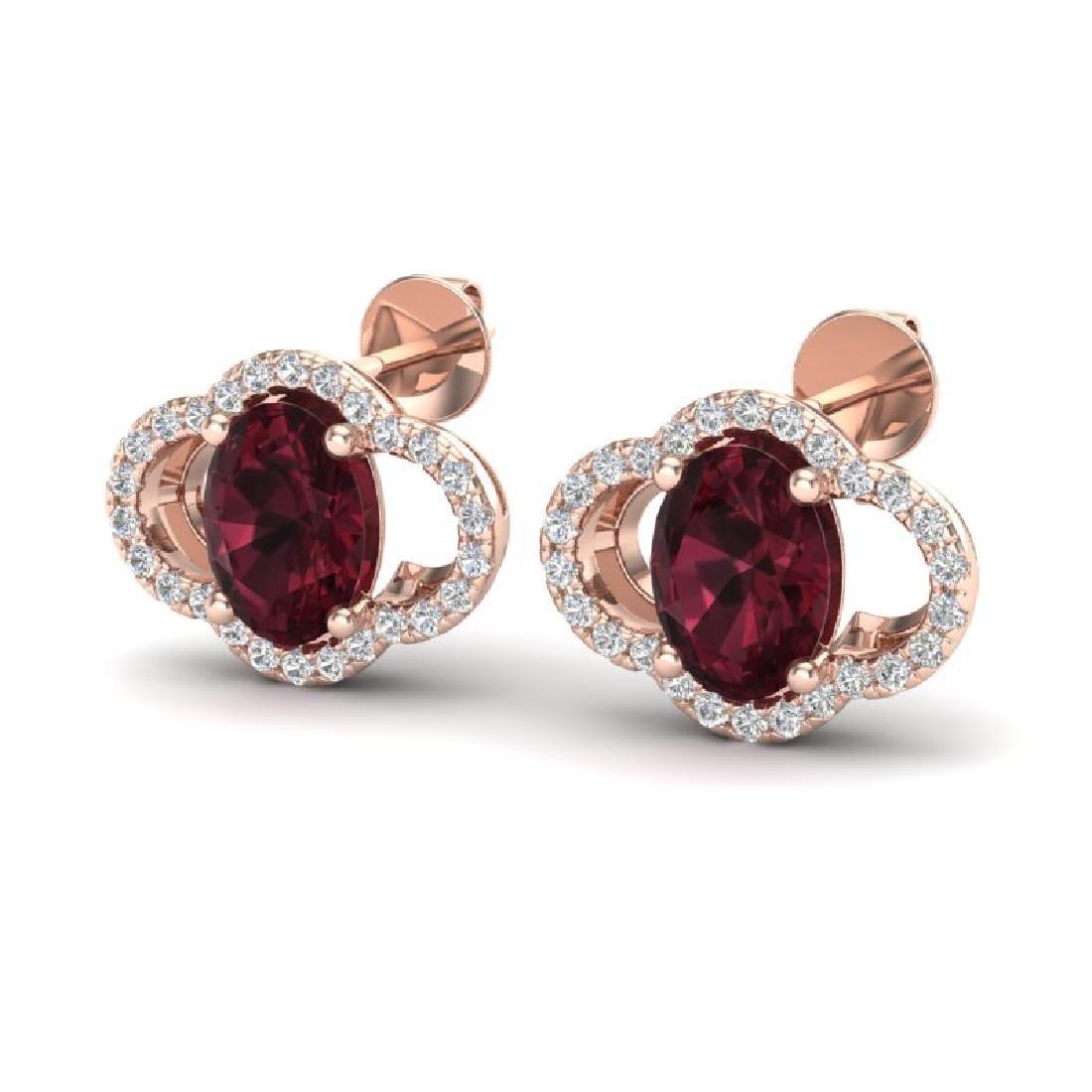 4 CTW Garnet & Micro Pave VS/SI Diamond Earrings 10K