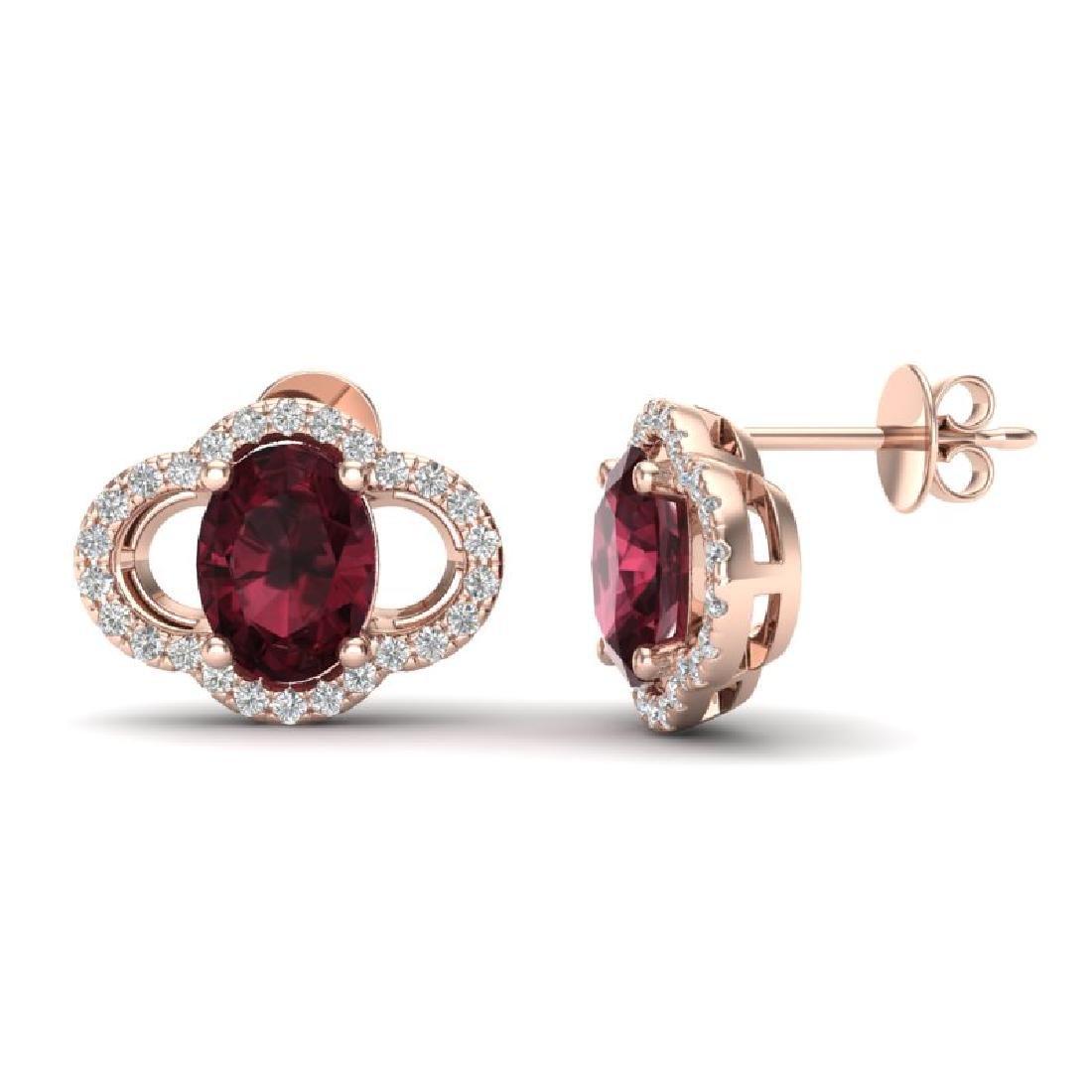 4 CTW Garnet & Micro Pave VS/SI Diamond Earrings 10K - 2