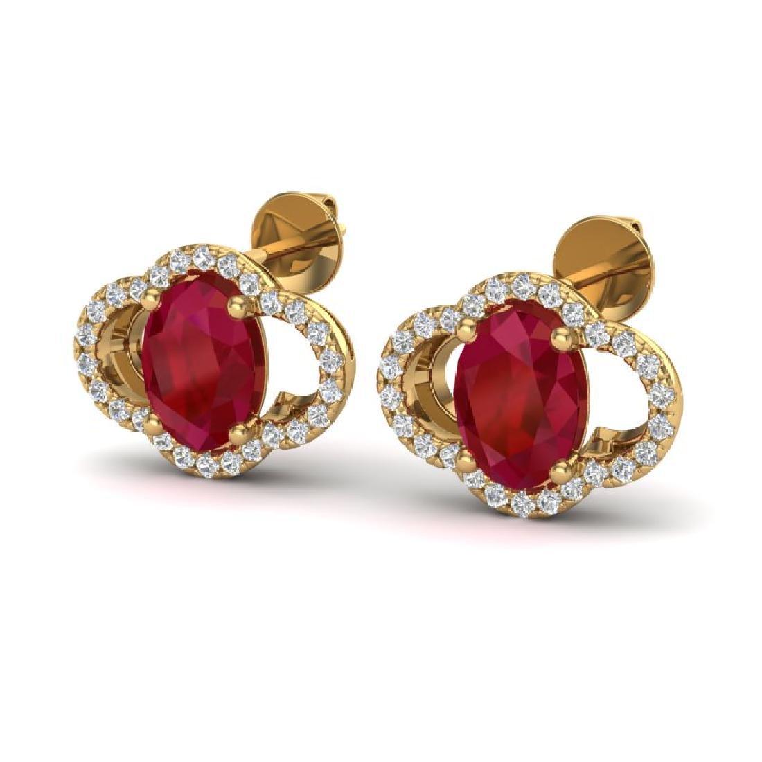 4 CTW Ruby & Micro Pave VS/SI Diamond Earrings 10K