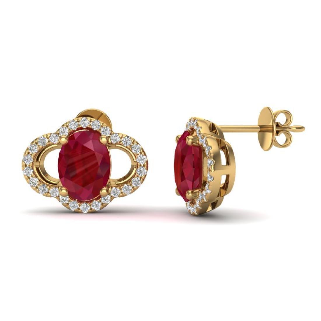 4 CTW Ruby & Micro Pave VS/SI Diamond Earrings 10K - 2