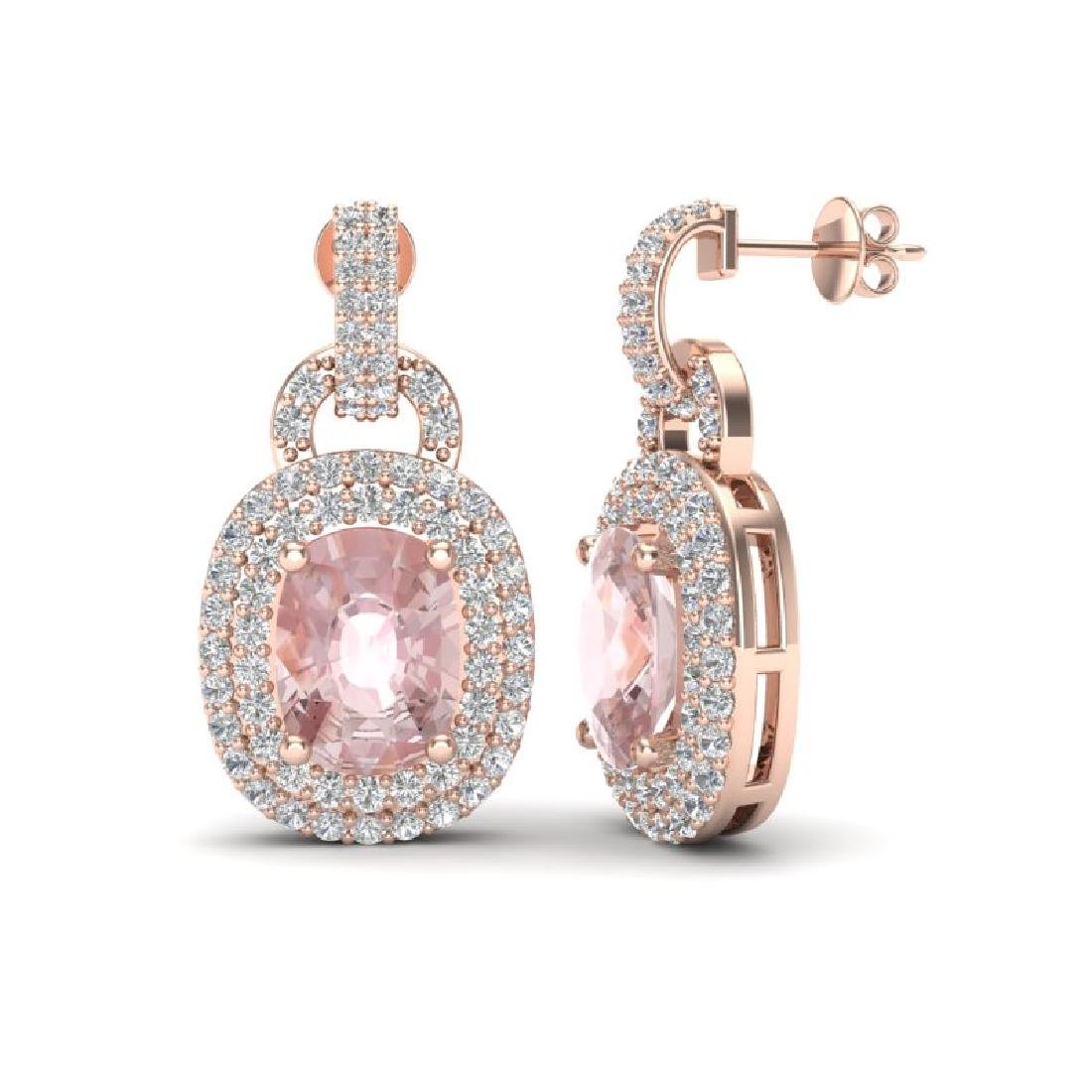 5 CTW Morganite & Black Micro VS/SI Diamond Earrings - 2