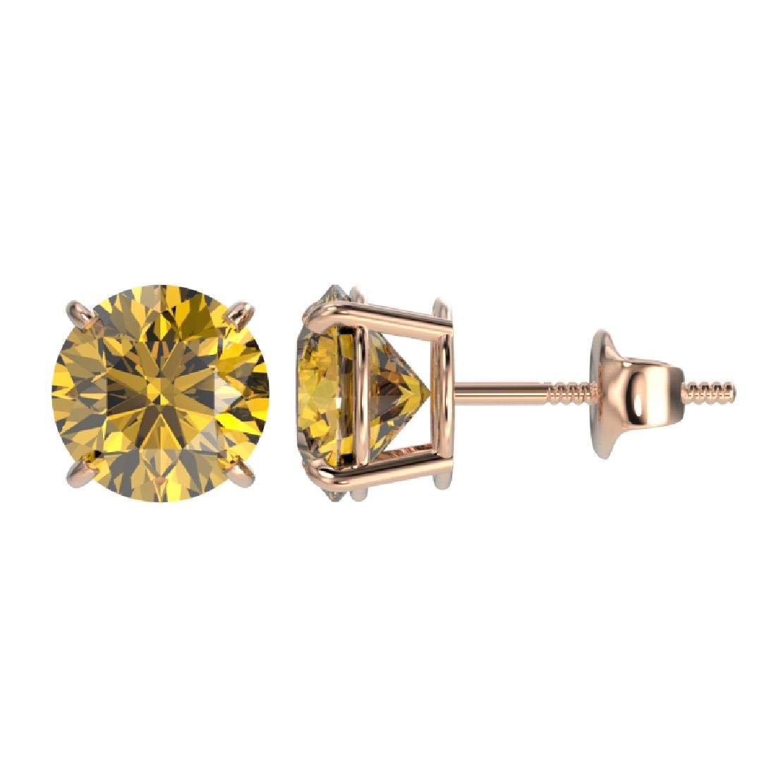 1.97 CTW Certified Intense Yellow SI Diamond Solitaire - 2