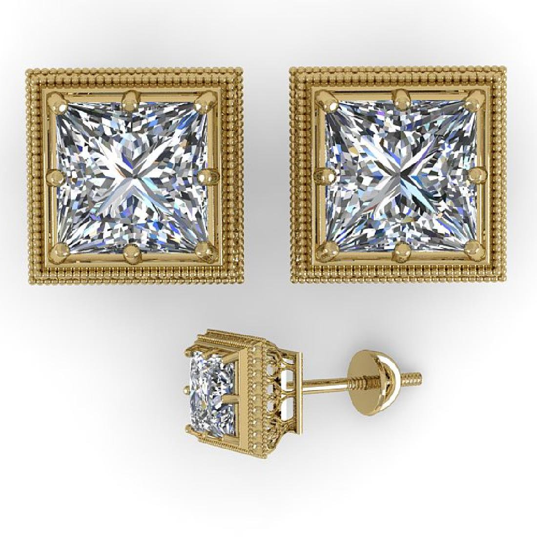 1.0 CTW VS/SI Princess Diamond Stud Solitaire Earrings - 2