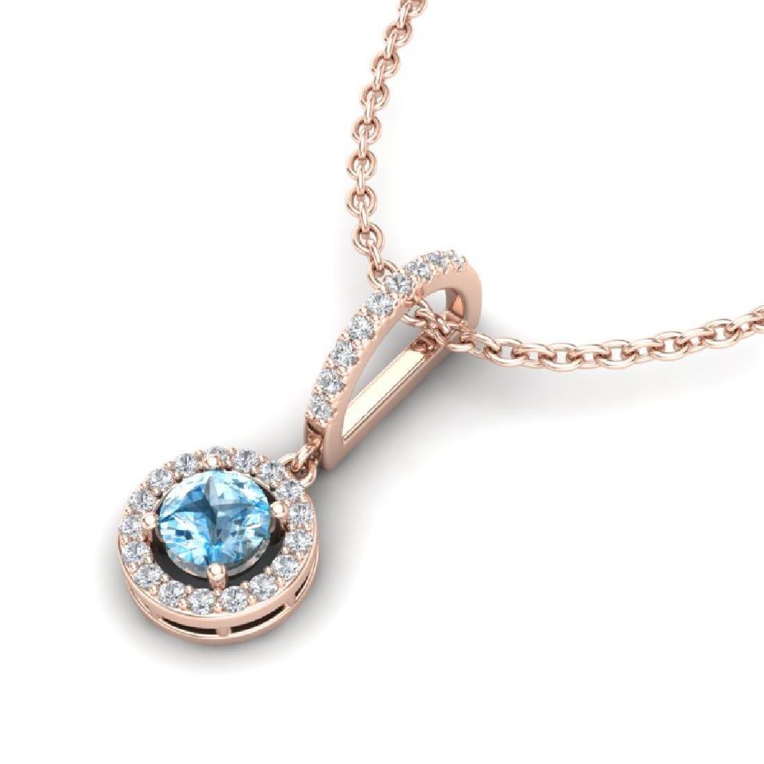 1 CTW Topaz & Micro Halo VS/SI Diamond Necklace 14K