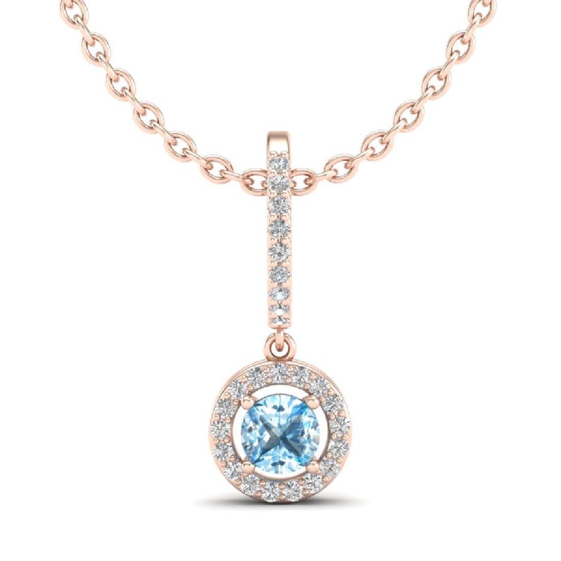 1 CTW Topaz & Micro Halo VS/SI Diamond Necklace 14K - 2