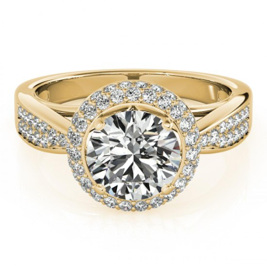 1.65 CTW Certified VS/SI Diamond Solitaire Halo Ring