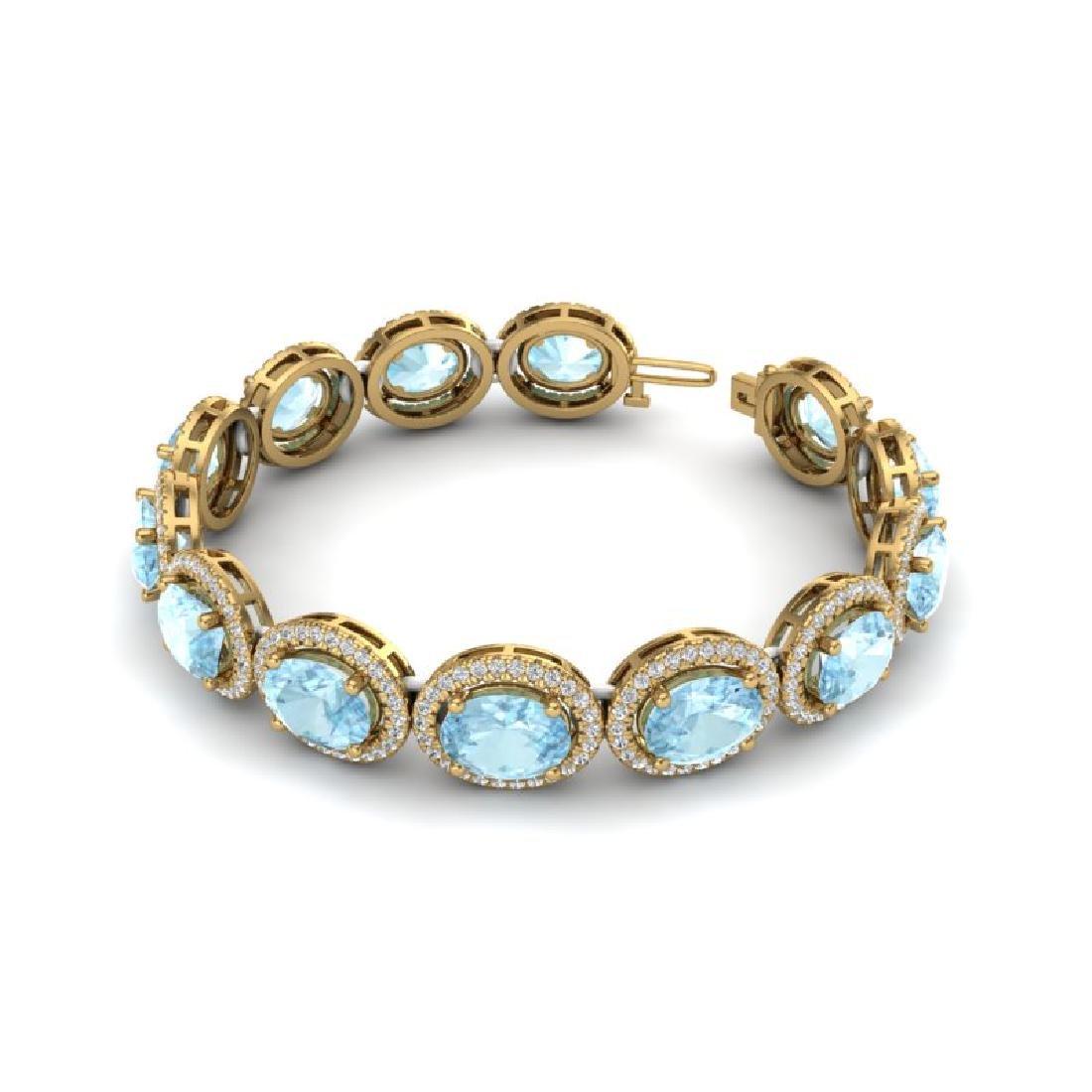 23 CTW Aquamarine & Micro Pave VS/SI Diamond Bracelet - 2