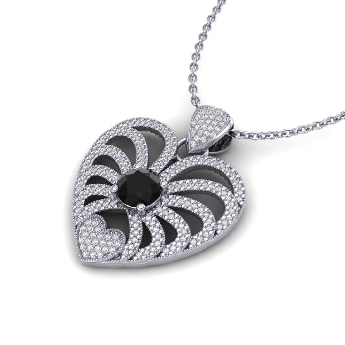 3.50 CTW Black & White Micro VS/SI Diamond Heart - 2