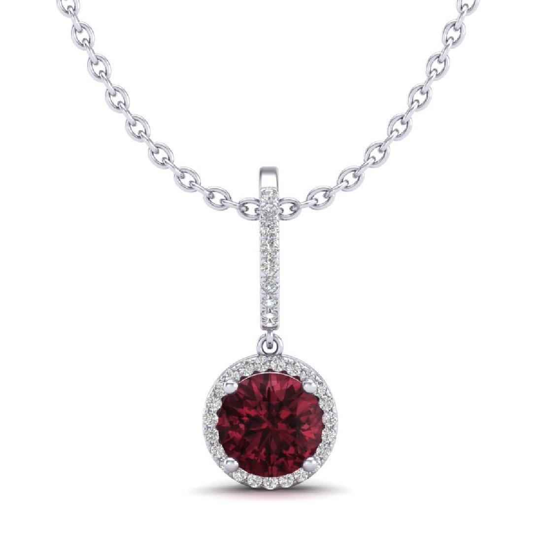 2.75 CTW Garnet & Micro Pave VS/SI Diamond Necklace - 2