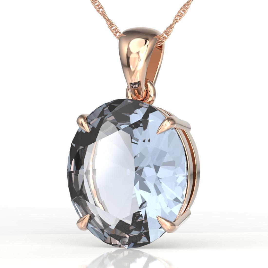 9 CTW Aquamarine Designer Solitaire Necklace 14K Rose