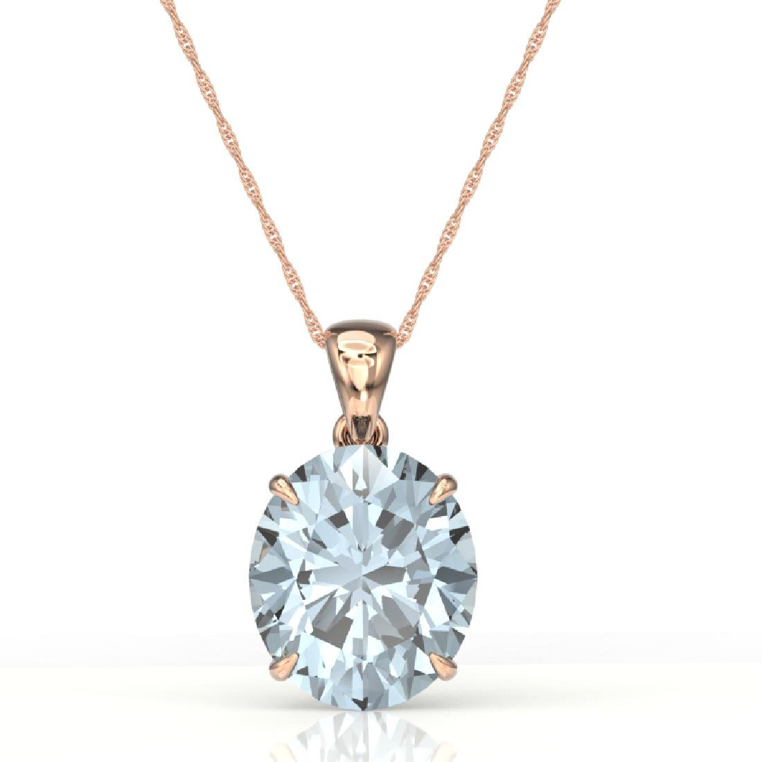 9 CTW Aquamarine Designer Solitaire Necklace 14K Rose - 2