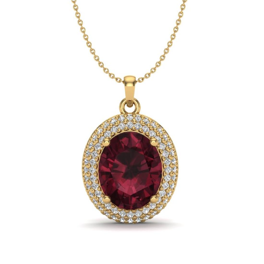4.50 CTW Garnet & Micro Pave VS/SI Diamond Necklace 18K