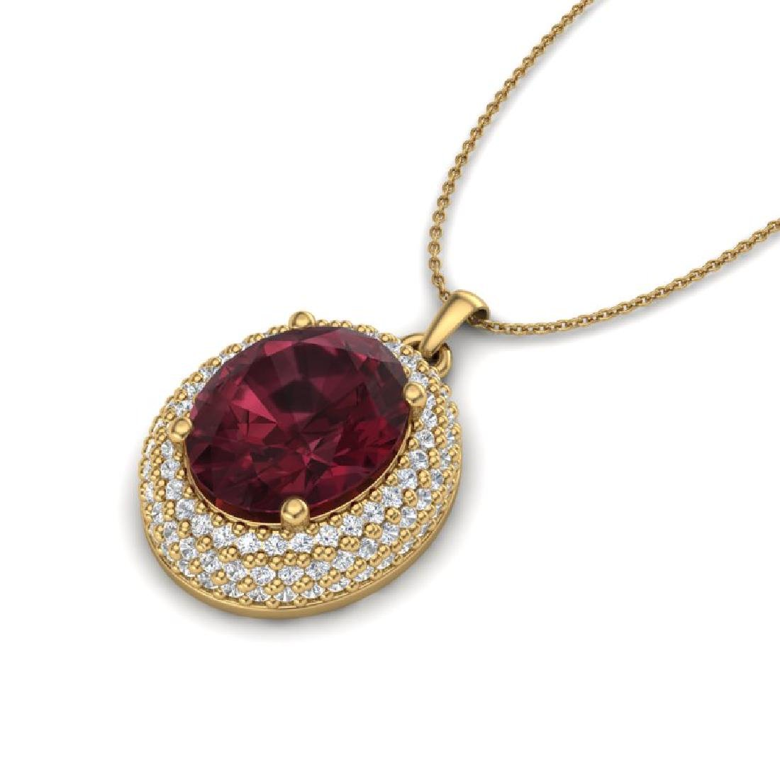 4.50 CTW Garnet & Micro Pave VS/SI Diamond Necklace 18K - 2