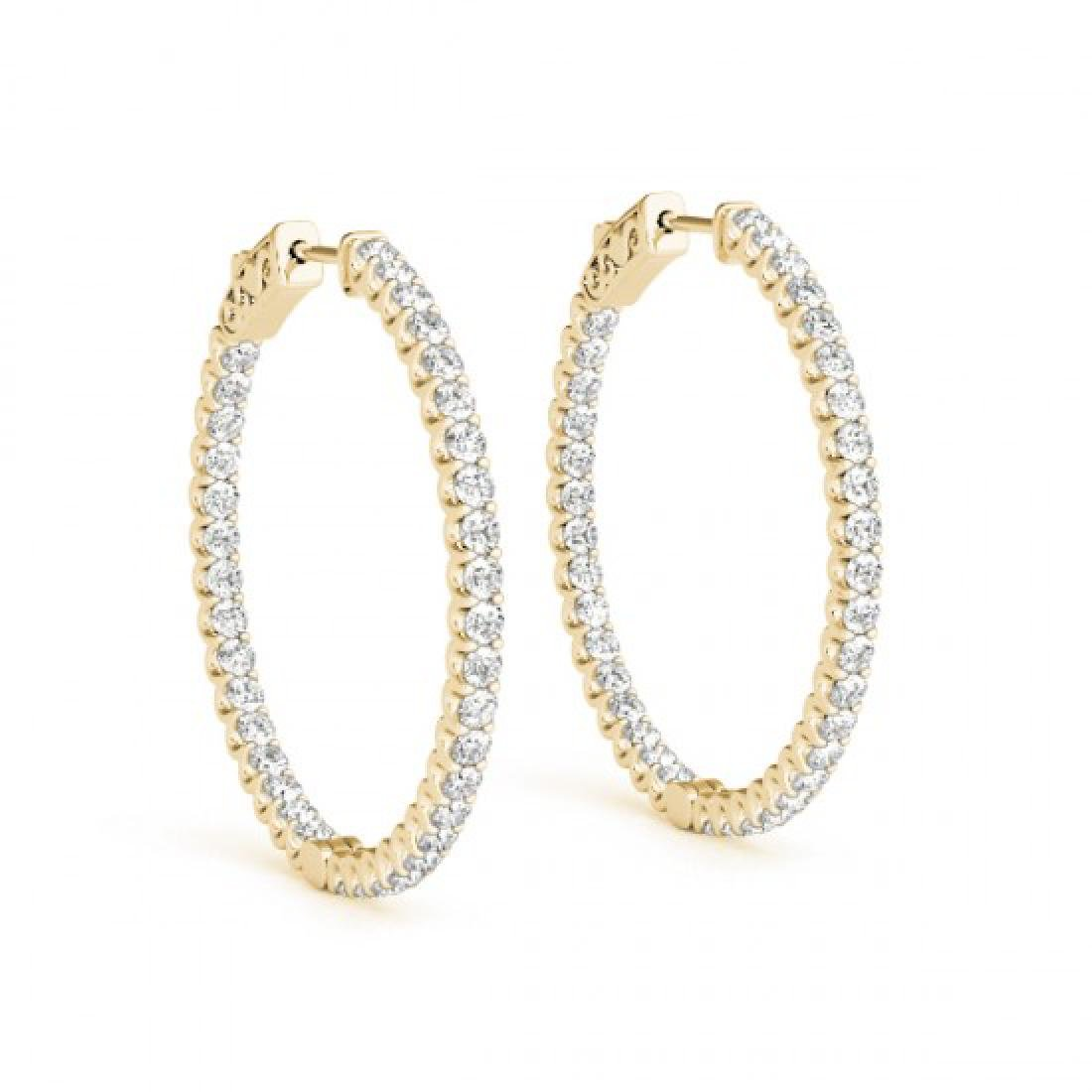 1.25 CTW Diamond VS/SI Certified 25 Mm Hoop Earrings - 2