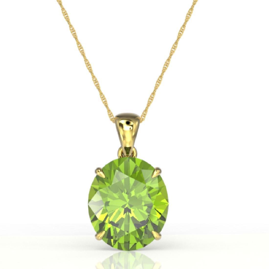 9 CTW Peridot Designer Solitaire Necklace 18K Yellow - 2