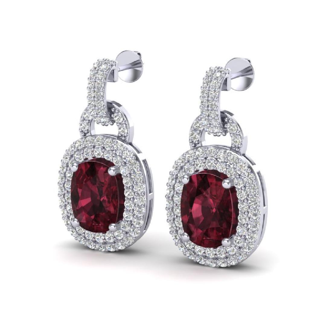 5 CTW Garnet And Micro VS/SI Diamond Pave Earrings Halo