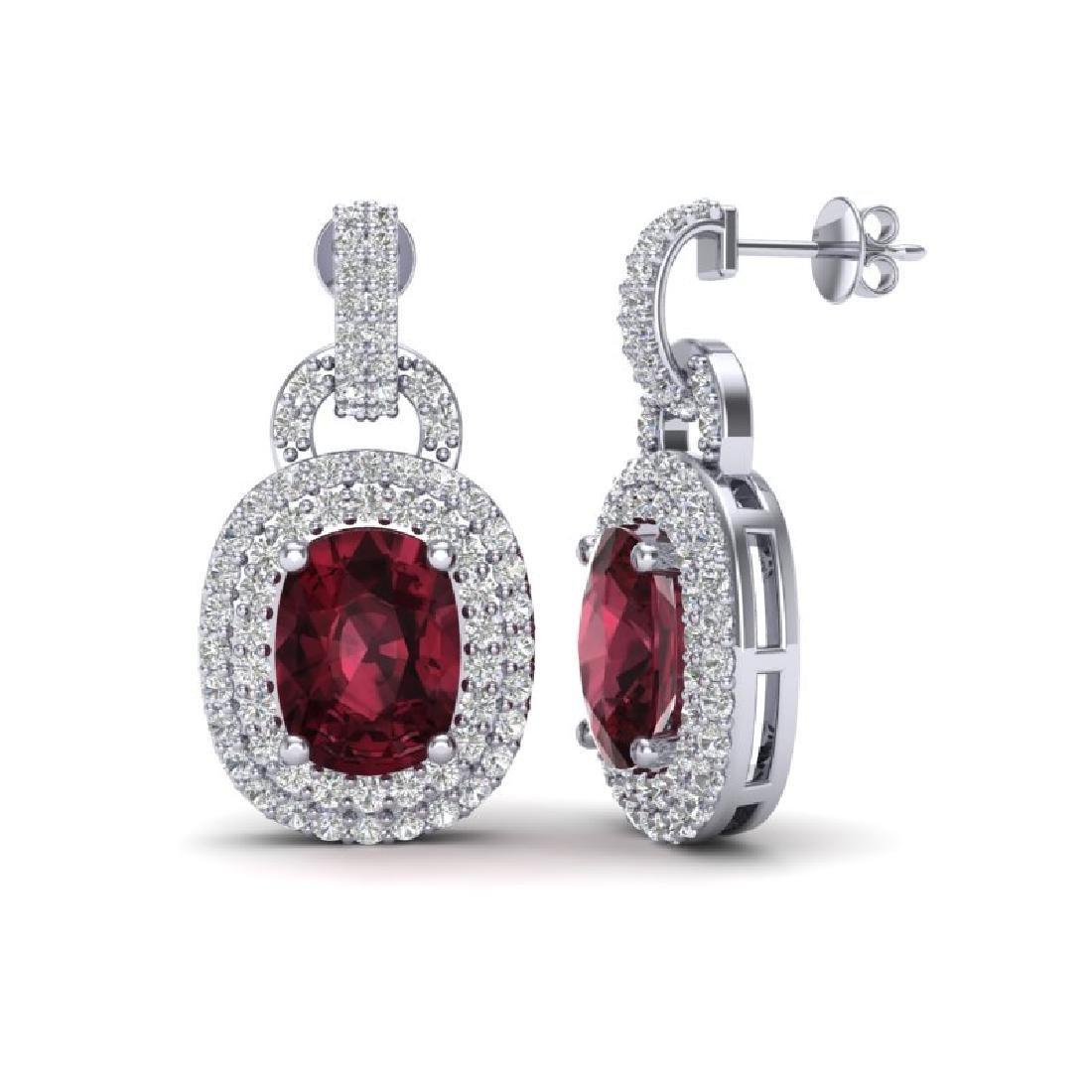 5 CTW Garnet And Micro VS/SI Diamond Pave Earrings Halo - 2
