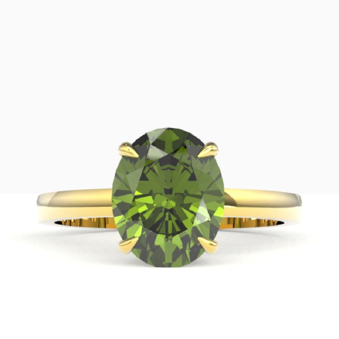 3 CTW Green Tourmaline Designer Inspired Solitaire Ring