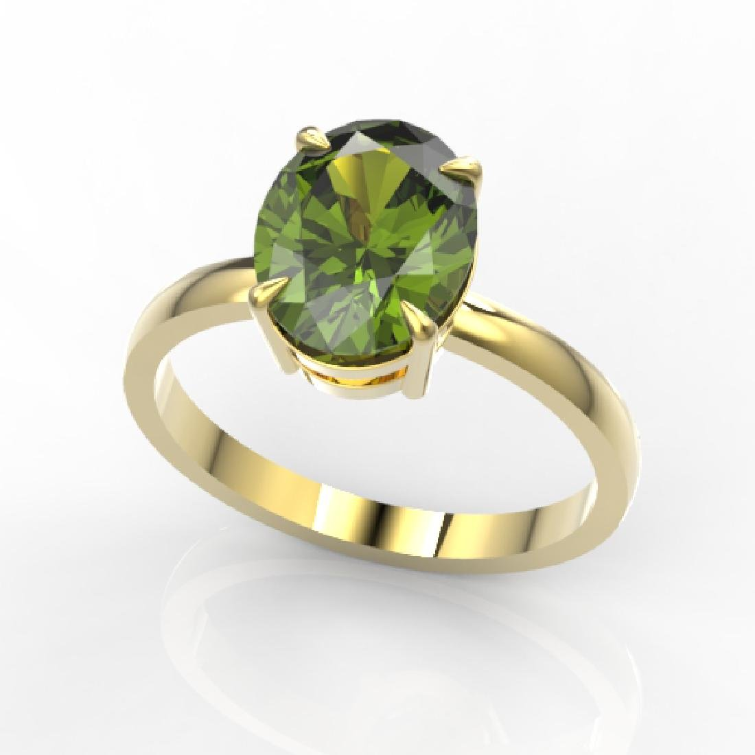 3 CTW Green Tourmaline Designer Inspired Solitaire Ring - 2