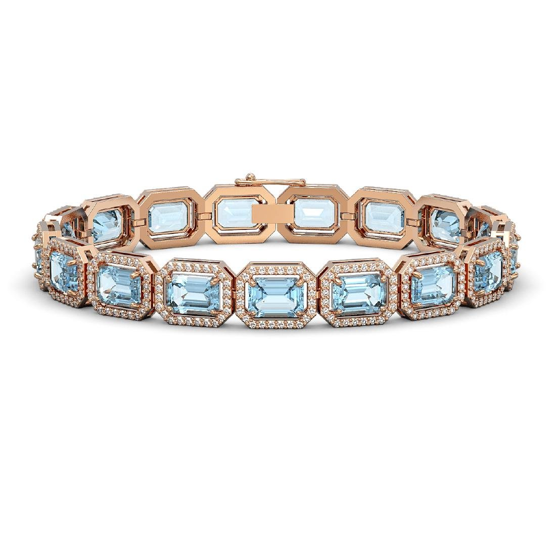 24.51 CTW Aquamarine & Diamond Halo Bracelet 10K Rose