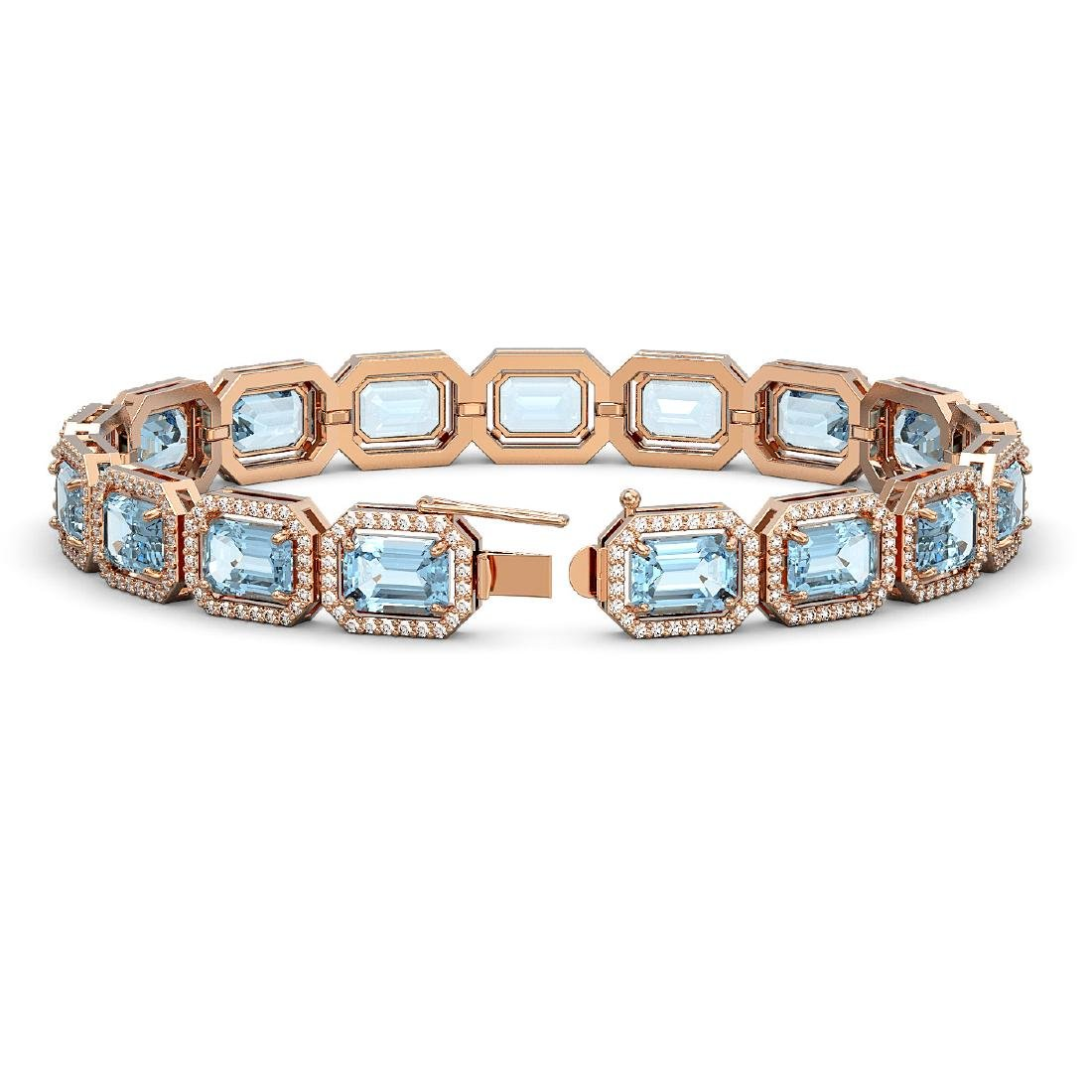 24.51 CTW Aquamarine & Diamond Halo Bracelet 10K Rose - 2