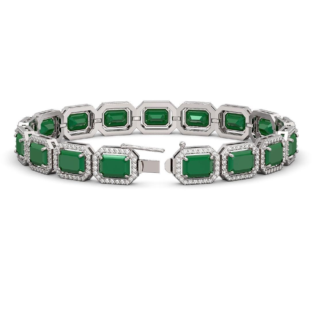 26.21 CTW Emerald & Diamond Halo Bracelet 10K White - 2