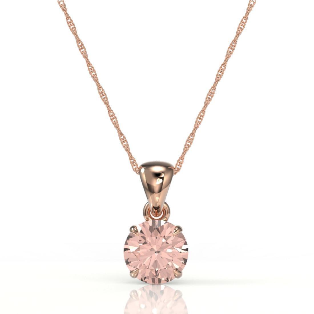 2 CTW Morganite Designer Inspired Solitaire Necklace - 2