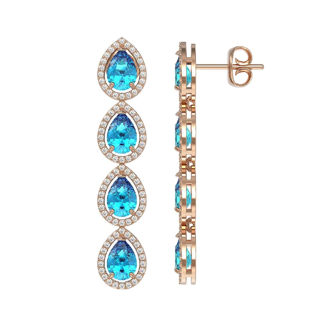 7.81 CTW Swiss Topaz & Diamond Halo Earrings 10K Rose - 2