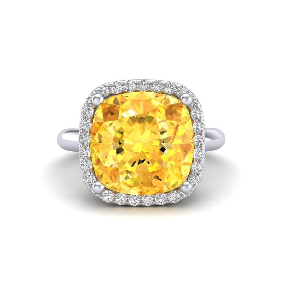 6 CTW Citrine And Micro Pave Halo VS/SI Diamond Ring