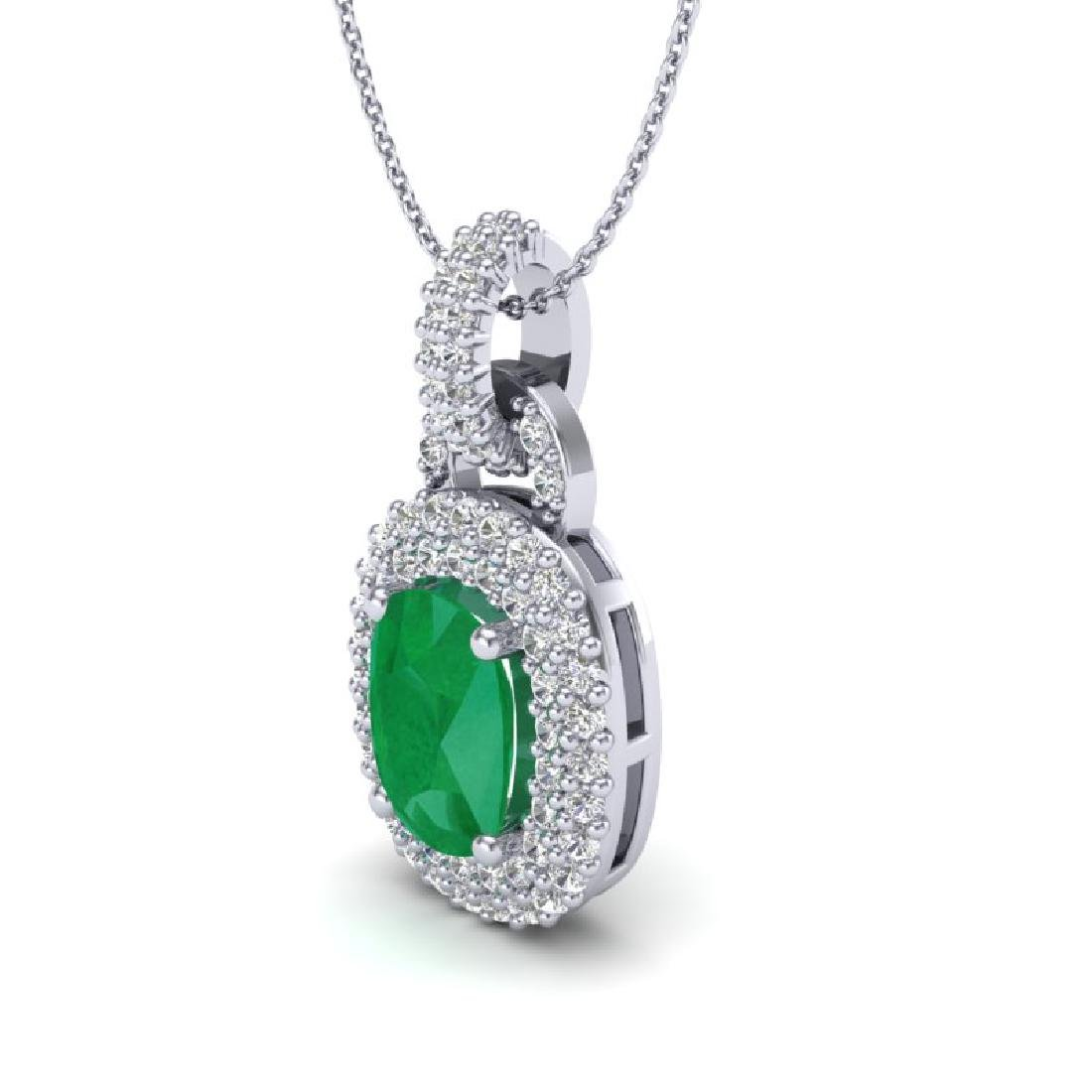 2.50 CTW Emerald & Micro Pave VS/SI Diamond Necklace - 2