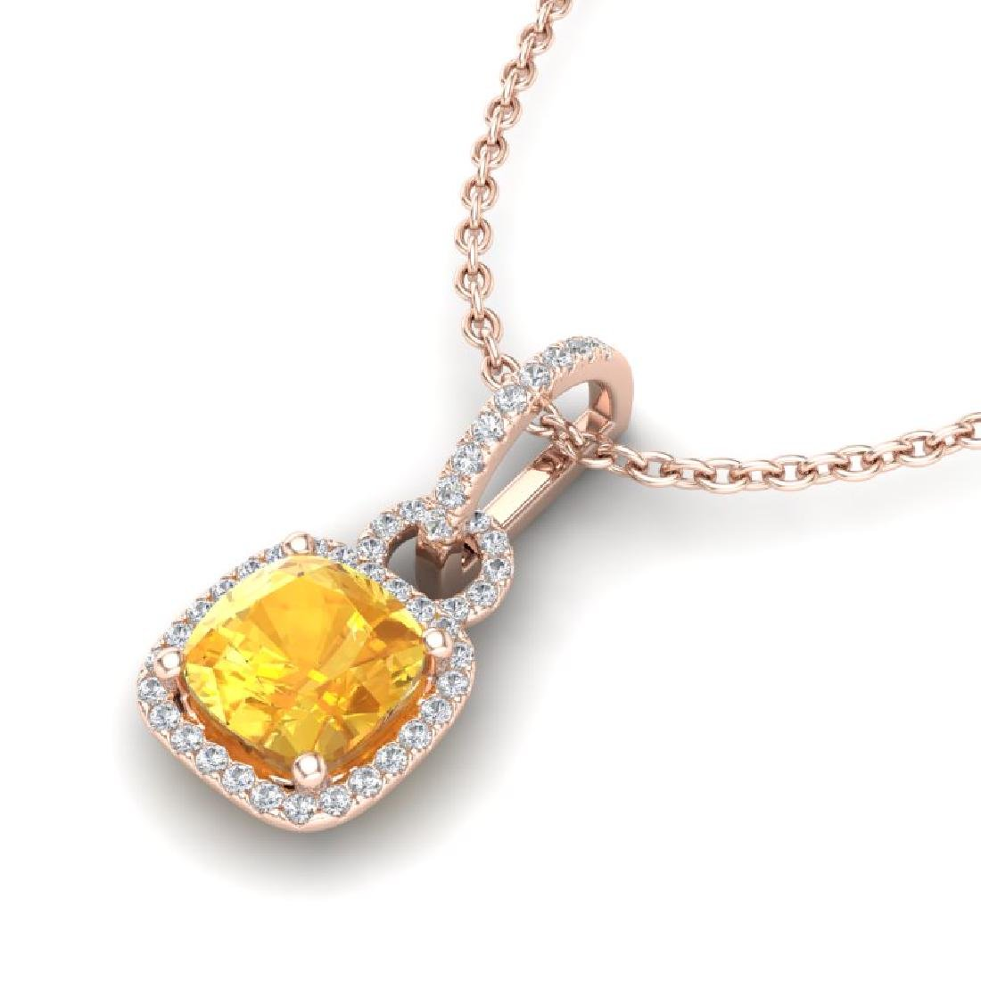 3.50 CTW Citrine & Micro VS/SI Diamond Necklace 14K