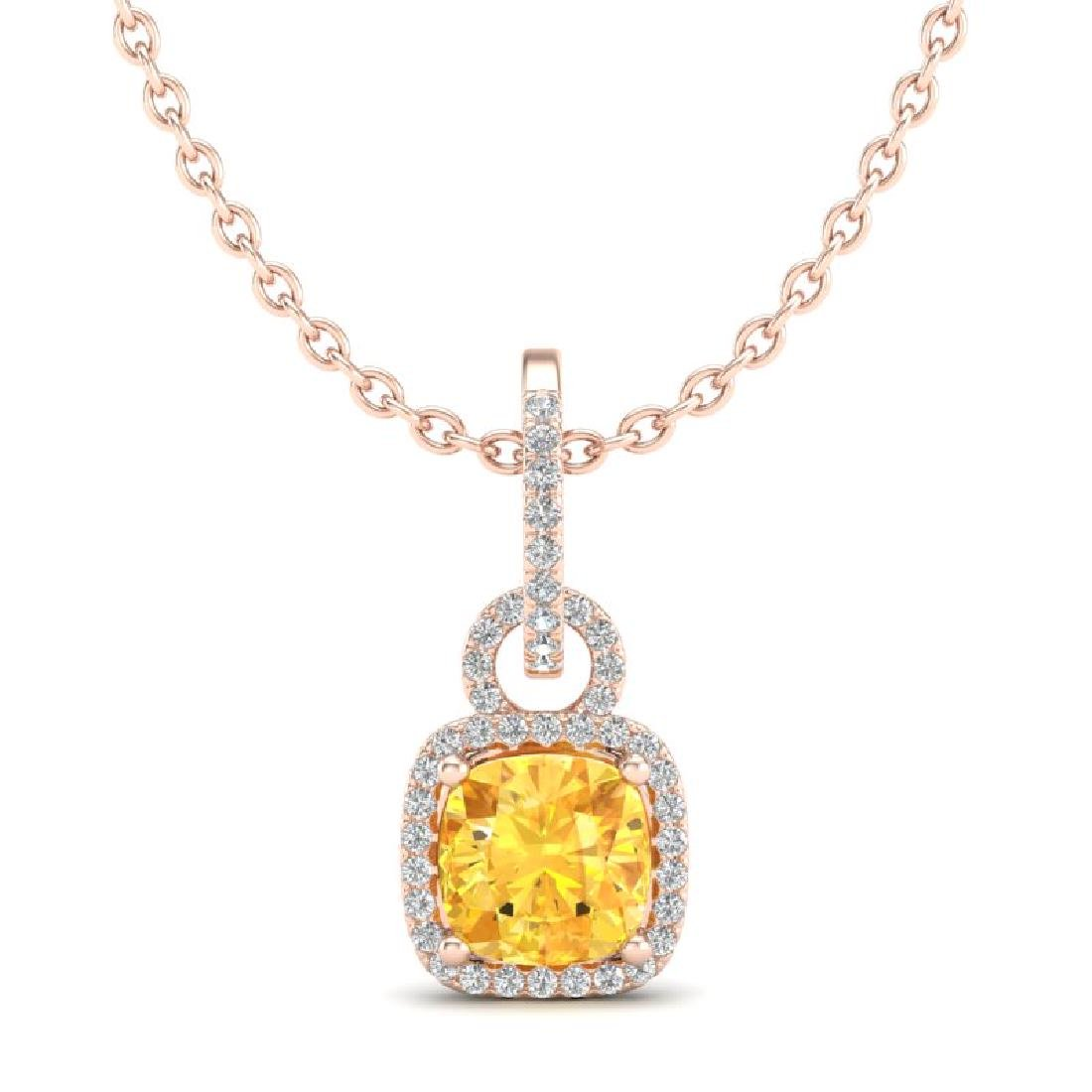 3.50 CTW Citrine & Micro VS/SI Diamond Necklace 14K - 2