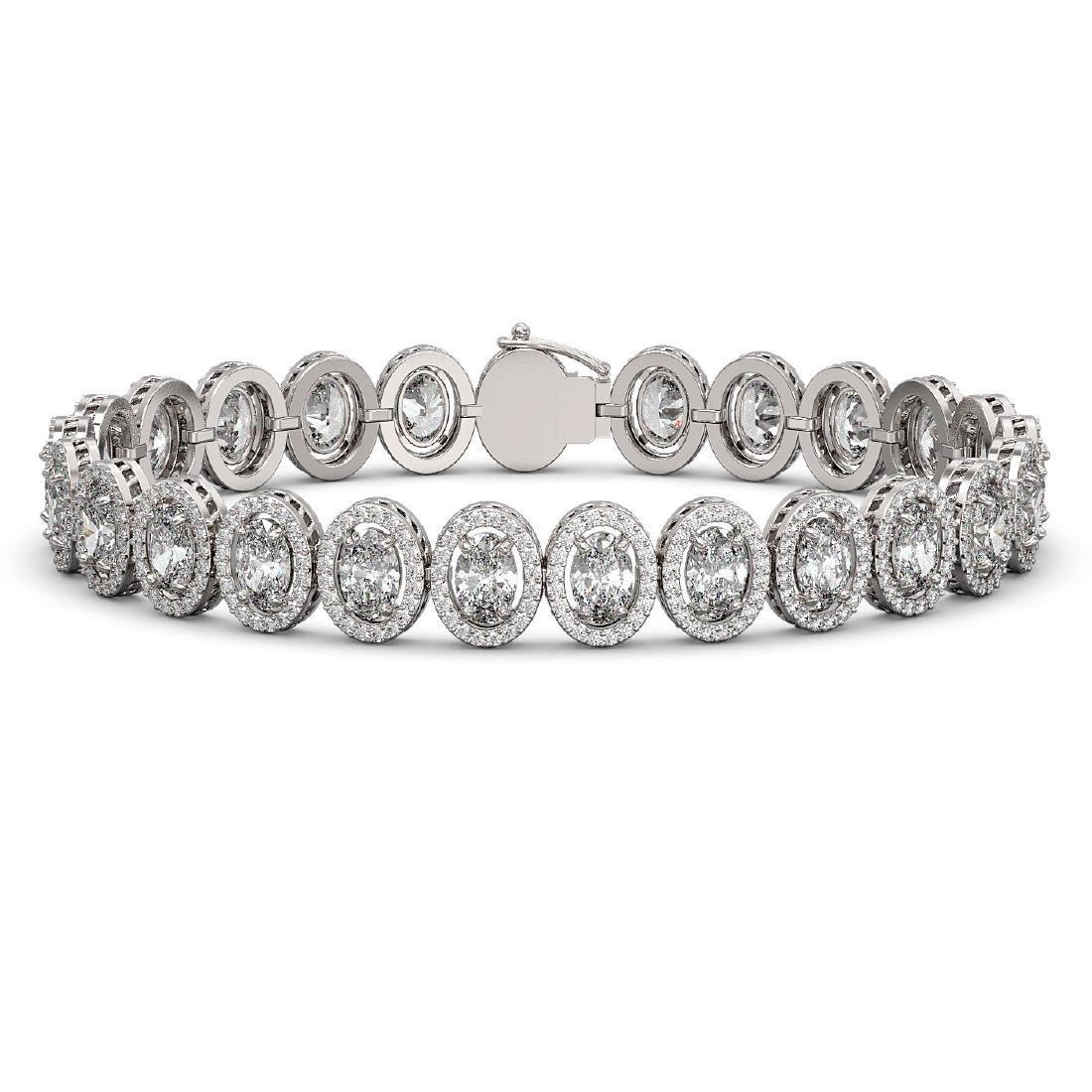 15.8 CTW Oval Diamond Designer Bracelet 18K White Gold