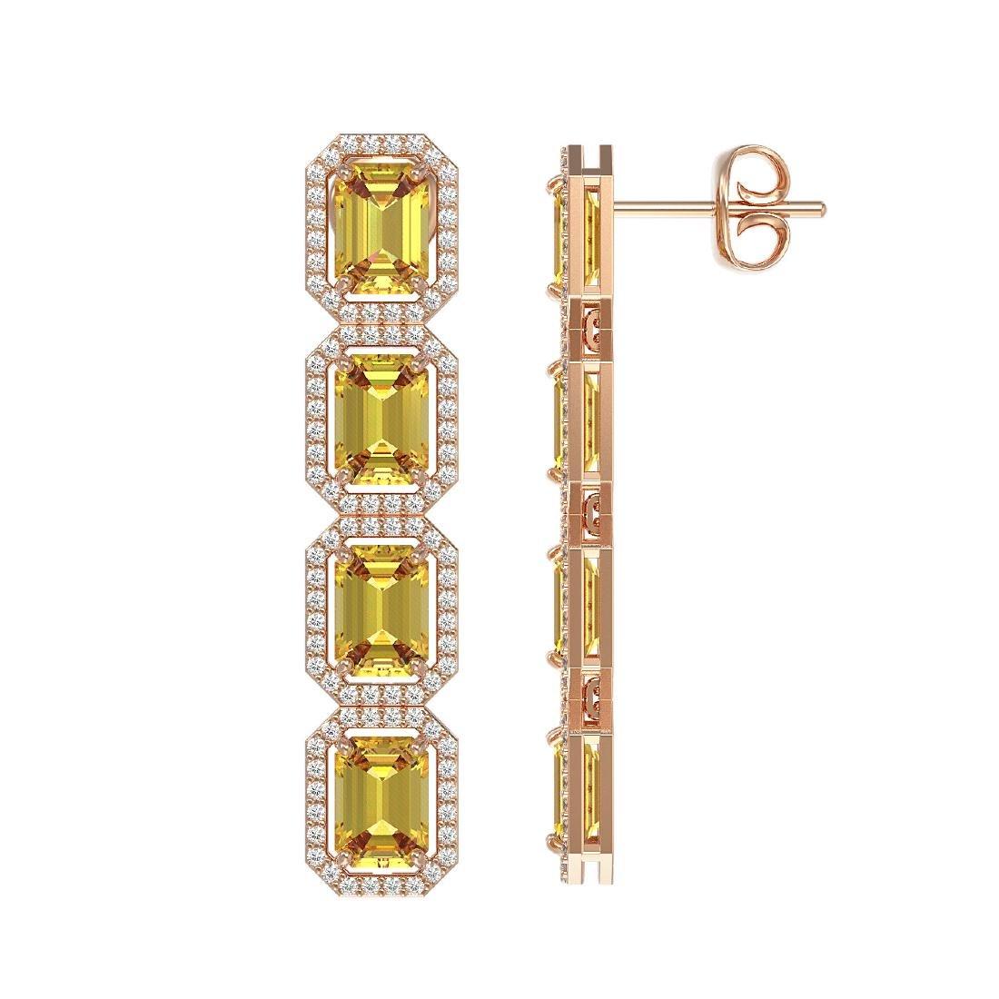 11.18 CTW Fancy Citrine & Diamond Halo Earrings 10K - 2