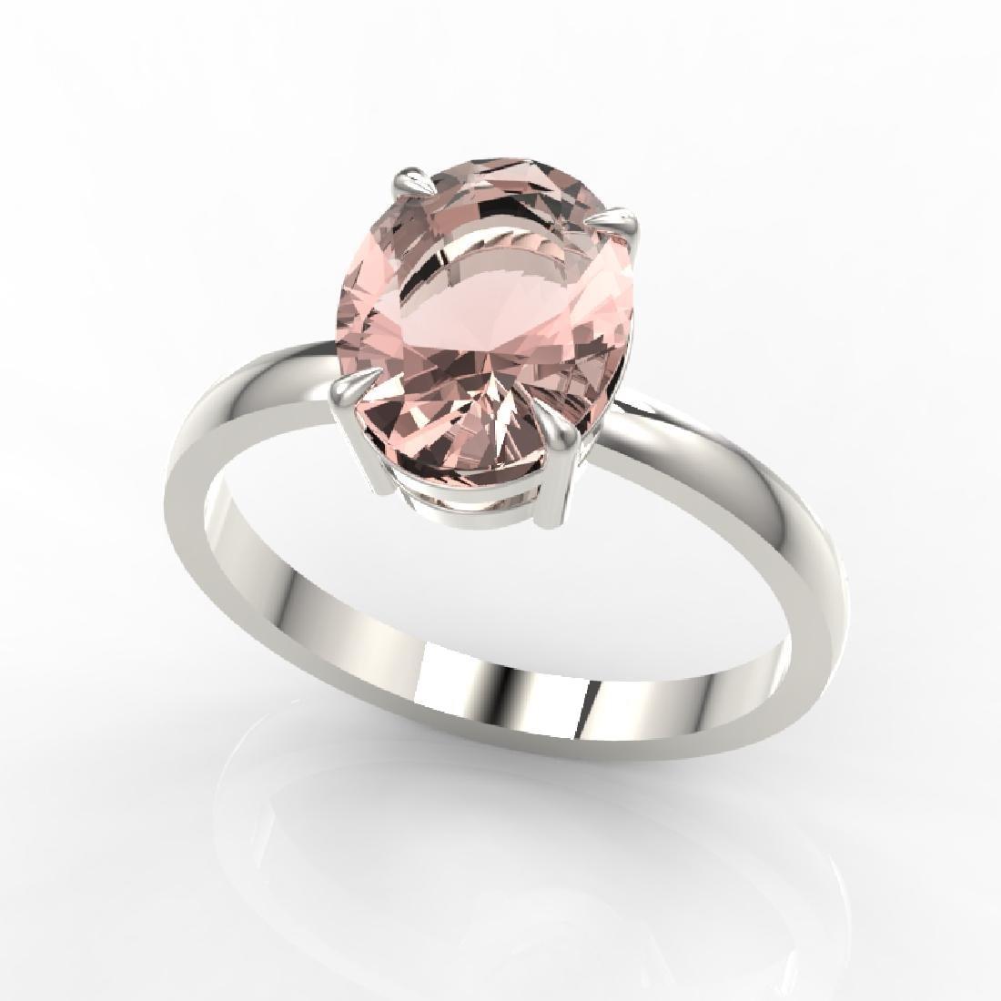 2.75 CTW Morganite Designer Inspired Solitaire Ring 18K - 2
