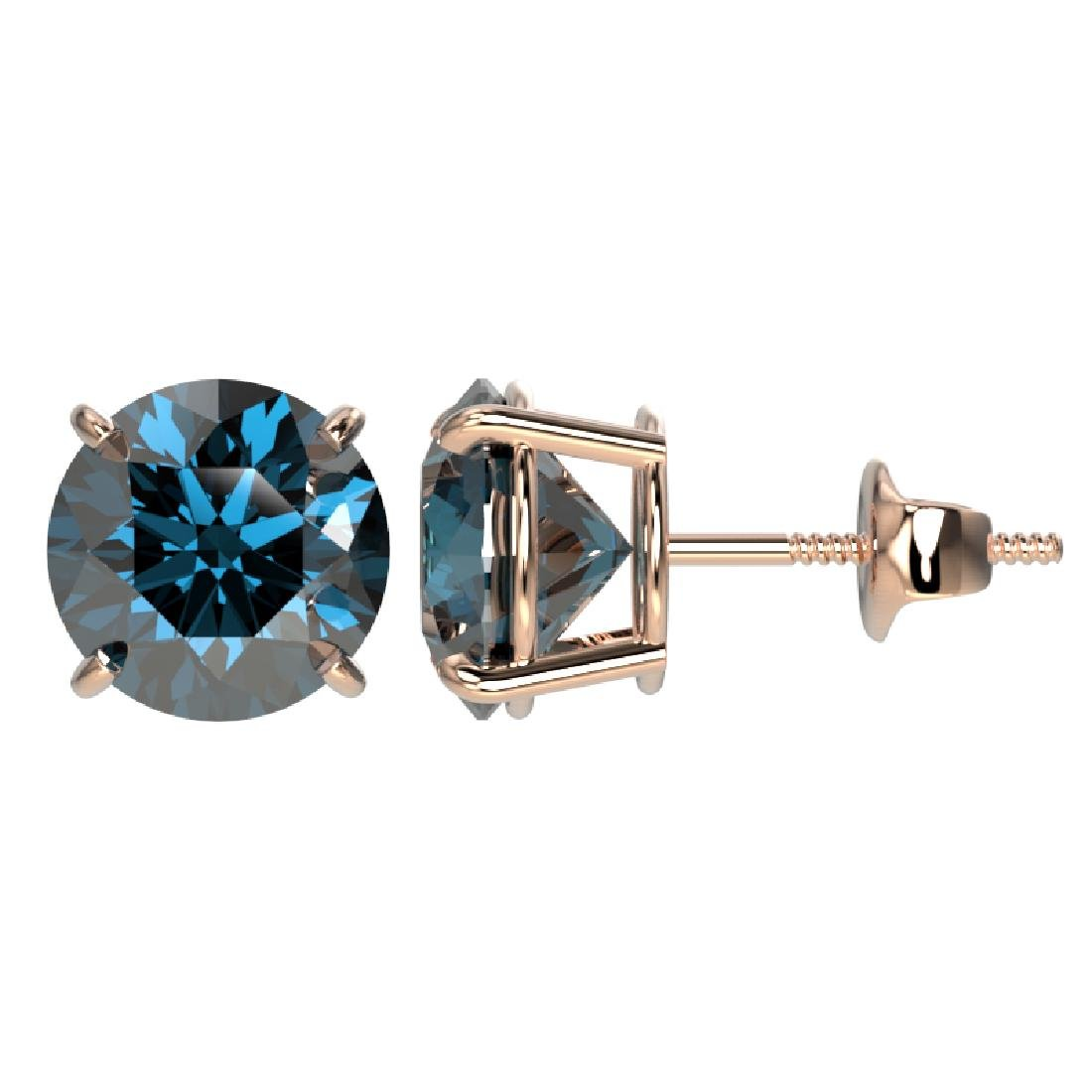 3.15 CTW Certified Intense Blue SI Diamond Solitaire - 2