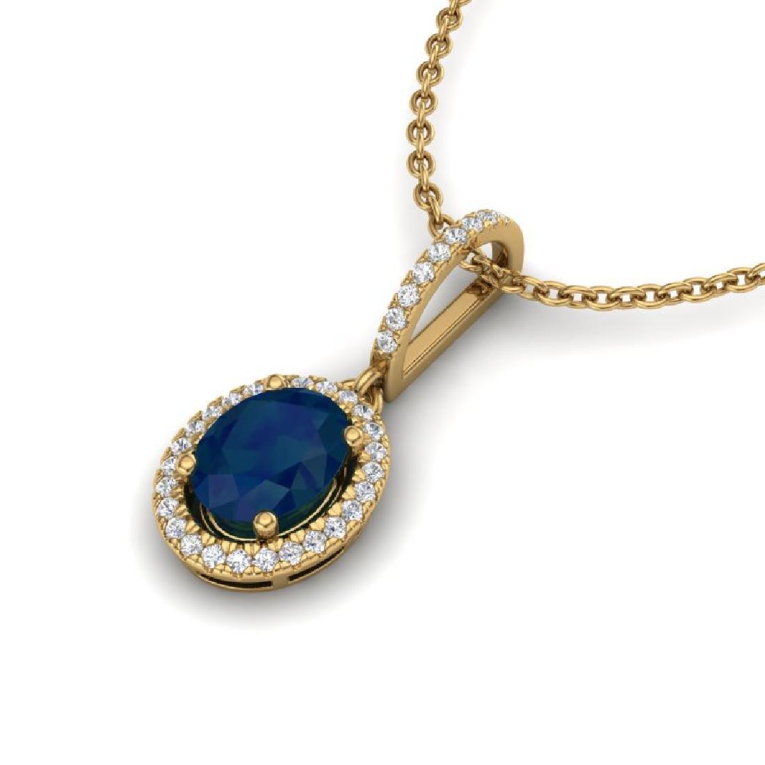 2 CTW Sapphire & Micro Pave VS/SI Diamond Necklace Halo - 2