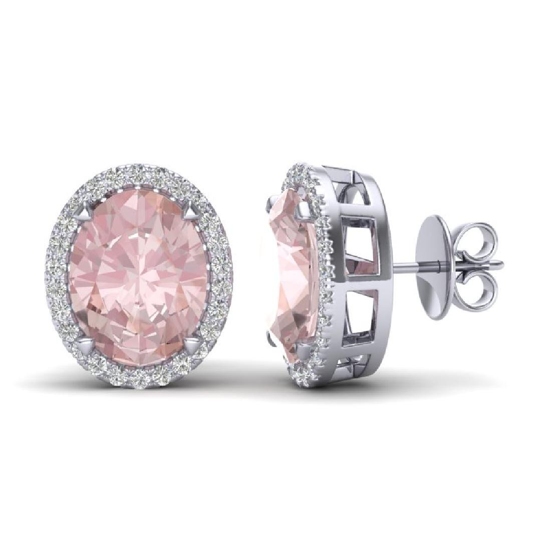 5.50 CTW Morganite & Micro VS/SI Diamond Halo Earrings - 2