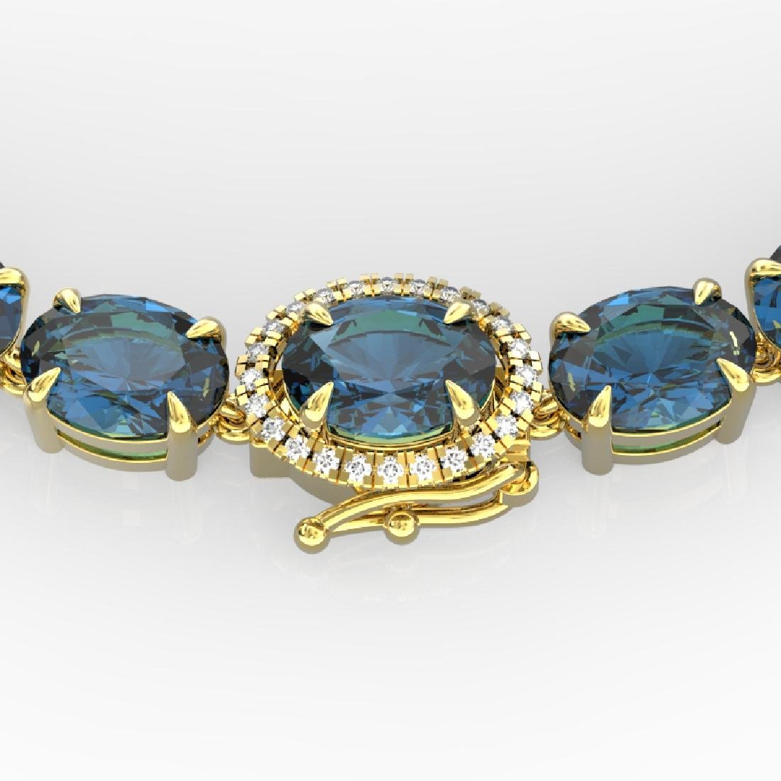 45.25 CTW London Blue Topaz & VS/SI Diamond Tennis