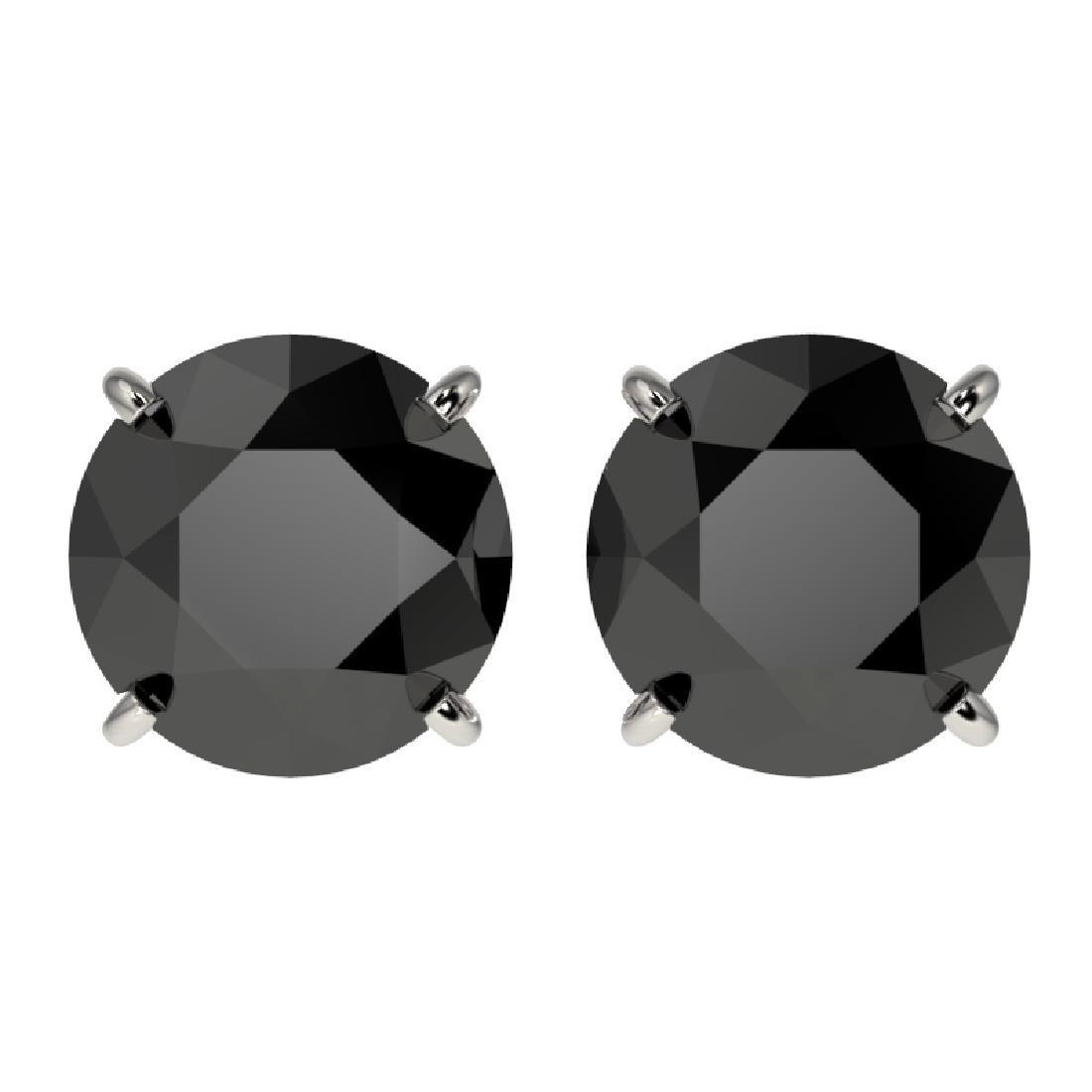 3 CTW Fancy Black VS Diamond Solitaire Stud Earrings