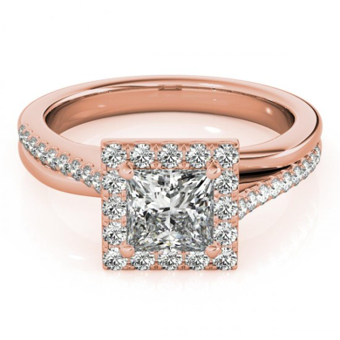 1.5 CTW Certified VS/SI Princess Diamond Solitaire Halo