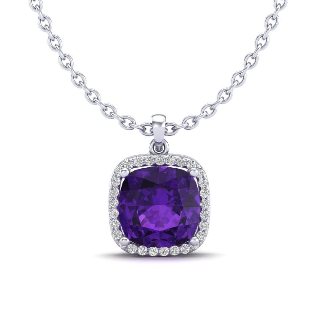6 CTW Amethyst & Micro Pave Halo VS/SI Diamond Necklace - 2