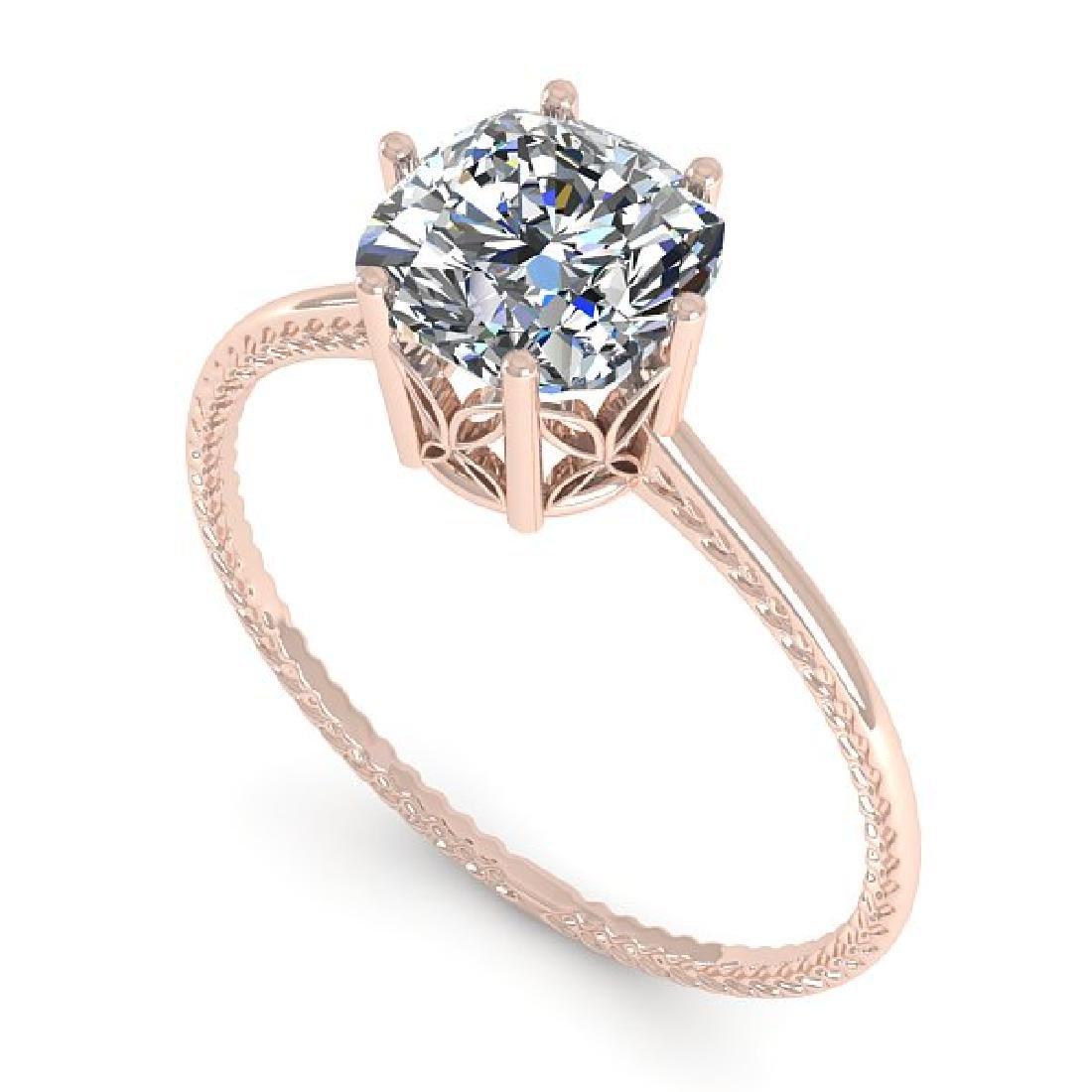 1.0 CTW VS/SI Cushion Diamond Art Deco Ring 14K Rose - 2